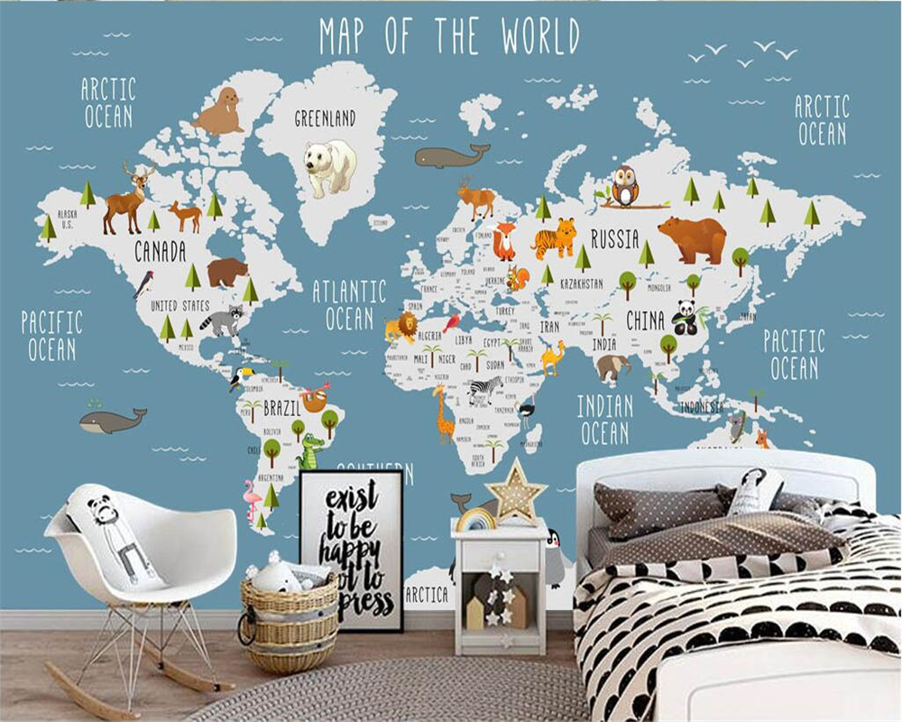 Beibehang personalizado papel de parede dos desenhos animados mapa do mundo tv fundo da sala estar quarto crianças fundo 3d murais