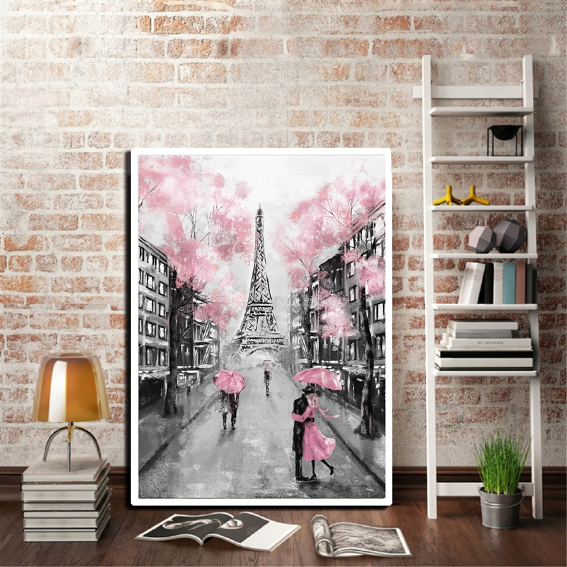 Paris Umbrella Couple Picture-Poster Canvas Painting Eiffel-Tower Wall-Art Street Home-Decor
