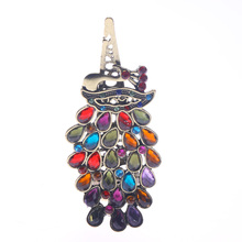 1Pcs Luxury Ladies Vintage Colorful Hair Pin Rhinestone Gem Antique Bronze Peacock Barrette Hairpin Hair Clip Hair Styling Tools
