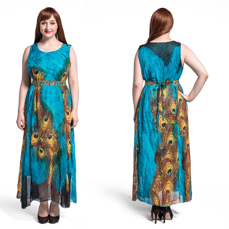 Women Oversized Print Peacock feather Maxi Dress Chiffon Embroidery Loose Bohemian Beach Summer Dress For Lady 6XL 7XL 8XL 9XL