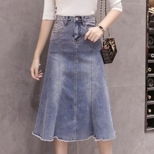 Spring Summer Woman Skirt Pleated Lace High Waist Trumpet Washed A Line Denim Saia Midi Streetwear Ripped Ruffle Faldas Mujer