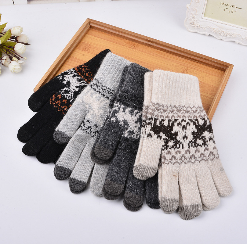 Elk Men Touch Screen Gloves For Mobile 4 Colors Knitted Gloves High Quality Rabbit hair Male Thicken Warm Winter Autumn Mittens