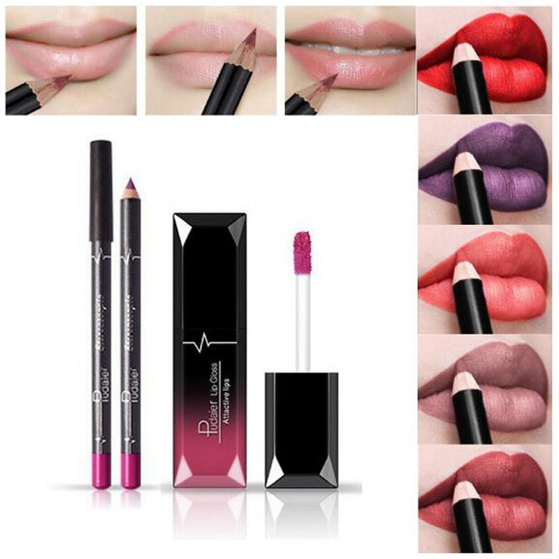 Pudaier 1pc Matte Liquid Lipstick Cosmetic Lip Kit+ 1 Pc Nude Lip Liner Pencil MakeUp Set Waterproof Long Lasting Kilie Lipstick