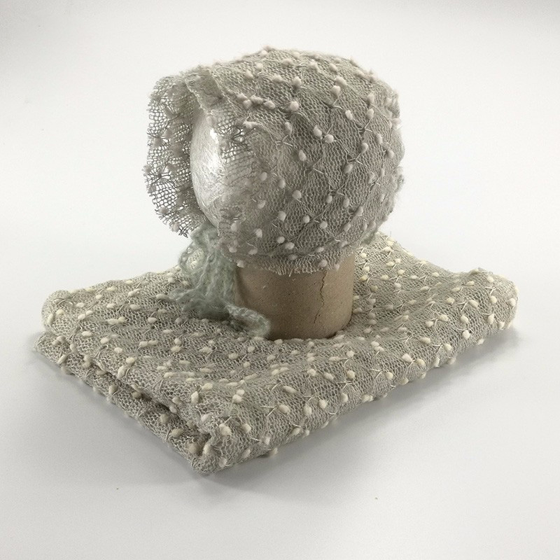 Knit Acrylic Soft Small Bobble Baby Wraps With Hat(full Set) Newborn Photography Props BABY SHOWER GIFT