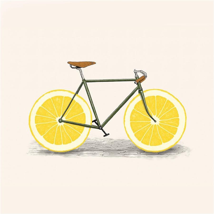 Wall Art Kids Room Decor Lemon Fruits Bike Painting on Canvas Prints ...