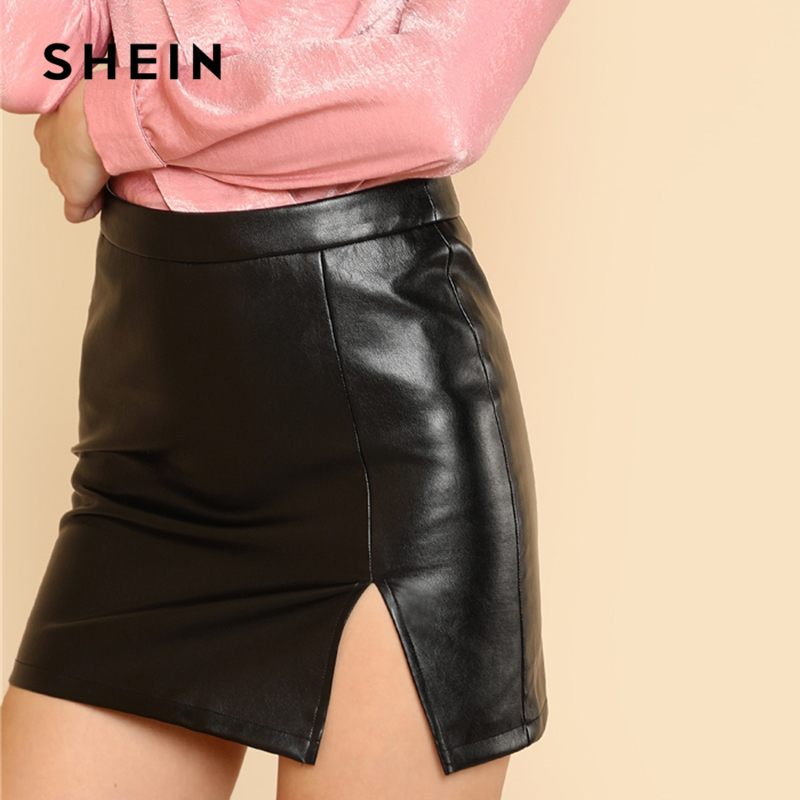 SHEIN Black Sexy Split Front Faux Leather Above Knee Short Plain Mid Waist Sheath Skirt Elegant Office Lady Solid Short Skirts 2