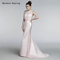 Romantic Soft Pink Mermaid Floral Lace Evening Dresses 2017 Women Long Pearls Engagement Birthday Party Prom Gowns Custom Made