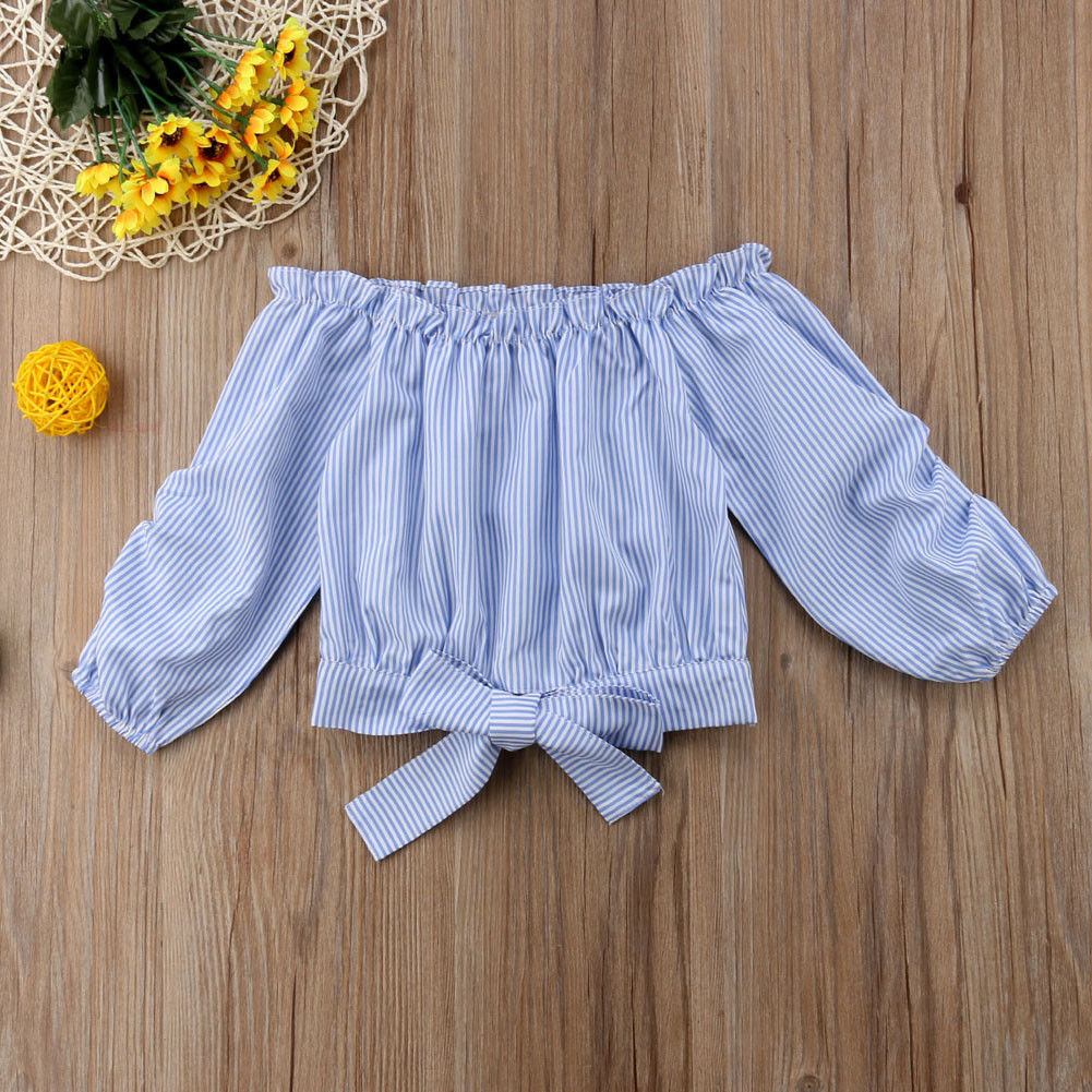 Fashion Toddler Baby Kid Girls Off Shoulder Blue White Striped Long Sleeves Tops T-shirt Tee Shirt