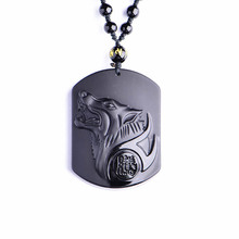Natural Black Obsidian Carving Wolf Head Amulet pendant free necklace obsidian Blessing Lucky pendants fashion Jewelry все цены