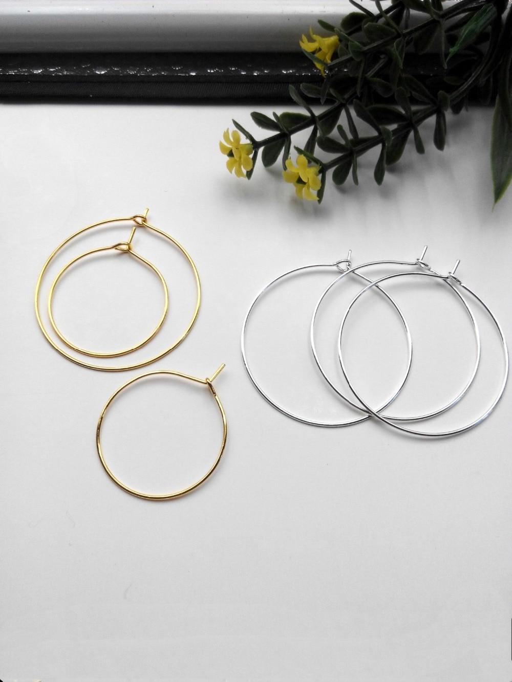 10 Teile/los Gold/silber Farbe Ohr Draht Haken 25/35/40mm Durchmesser Ohrring Hoops Erkenntnisse Für Diy Mode Schmuck Machen Zubehör