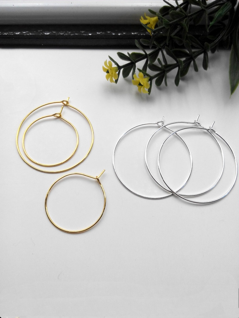 10pcs/lot Gold/Silver Color Ear Wire Hook 25/35/40mm Diameter Earring Hoops Findings For Diy Fashion Jewelry Making Accessories