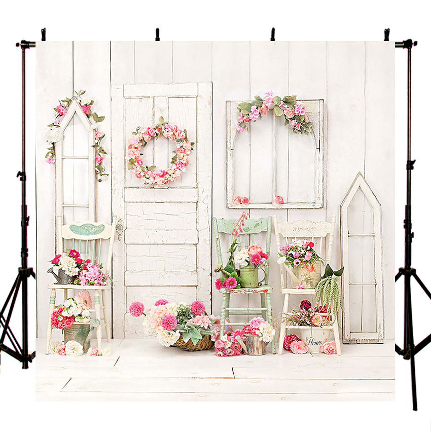 Image 2 - Photography Backdrop Children Balcony Bright Flowers Wreath Basket Chairs Wood Wall  Background Photo Studio Photobooth-in Background from Consumer Electronics