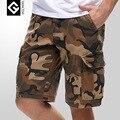Новый 2016 Летом мужская Повседневная Камуфляж Насыпных Грузов Шорты Бермуды Мужчины Хлопок Колен Multi-карманный Военной Короткие брюки