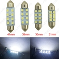 2 Pcs branco 31 mm / 36 mm / 39 mm / 41 mm 1210/3528 8SMD Car luz Interior Festoon Dome LED Bulb # FD-1524