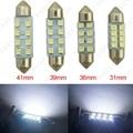 2 unids blanco 31 mm / 36 mm / 39 mm / 41 mm 1210/3528 8SMD Interior del coche luz de bóveda del adorno bombilla LED #FD - 1524
