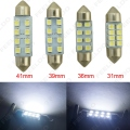 2Pcs White 31mm/36mm/39mm/41mm 1210/3528 8SMD Car Interior Light Festoon Dome LED Bulb #FD-1524