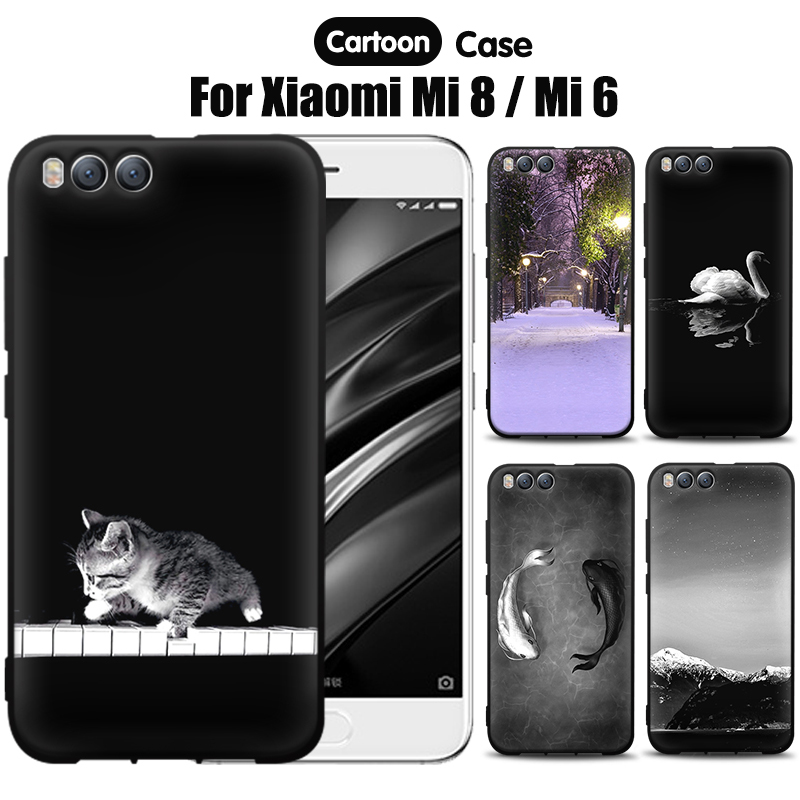 JURCHEN Soft Silicone Case Cover For <font><b>Xiaomi</b></font> Mi 8 Case <font><b>Mi8</b></font> Cartoon Paint TPU Back Fundas For <font><b>Xiaomi</b></font> Mi 8 / Mi 6 Phone Capa Coque image