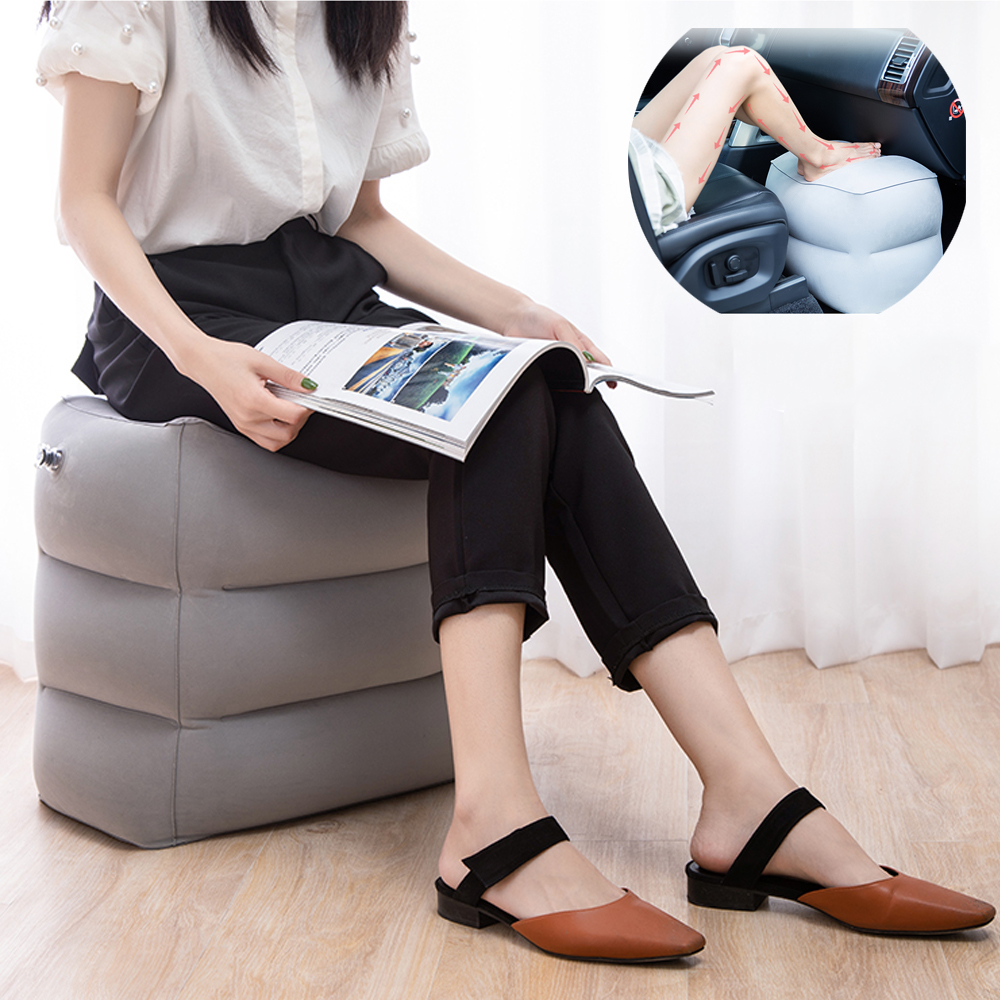 Travel Inflatable Pillow Plane Train Foot MAT Pad Air Inflatable Large Valve Footrest Pillow 3 Layer Cushion Travel Accessories