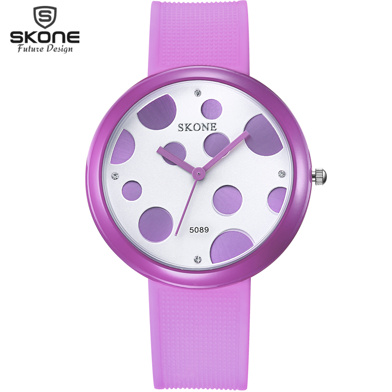 SKONE Ladybird Style Candy Color Big Face Fashion Watches Rhinestone Dial Silicone Strap Women Watch Girls relojes mujer Relogio