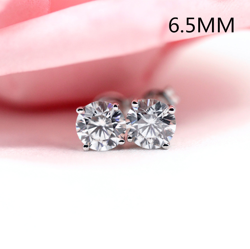 Transgems 10K post 2ctw 6.5MM HI color Platinum Plated Silver+Lab Created moissanite Stud Earrings For Women push back starry pattern gold plated alloy rhinestone stud earrings for women pink pair