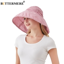 BUTTERMERE Pink Bucket Hat Women Adjustable Cotton Fishing Cap Female Summer Wide Brim Solid Ladies Brand Foldable Hats And Caps
