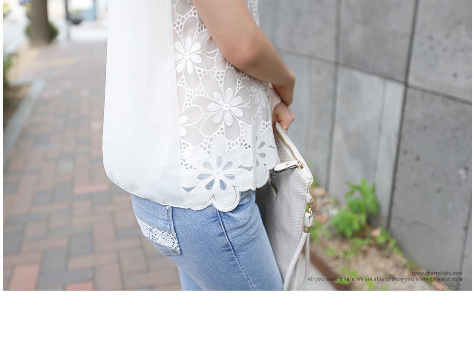 Blusa 2018 Slim Camiseta Coreano Camisa Encaje Plus Floral Mangas Gasa Sin Blanco 4xl 5xl Mujeres Tamaño 6xl Las De Primavera 3xl Verano 6q5xtY