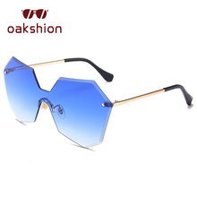 Oakshion rimless Sol glasse lente caramelo mujeres vintage oversized Marcos  polígono piloto Sol Gafas hombres medio Marcos condu. d1c0f1fbb7
