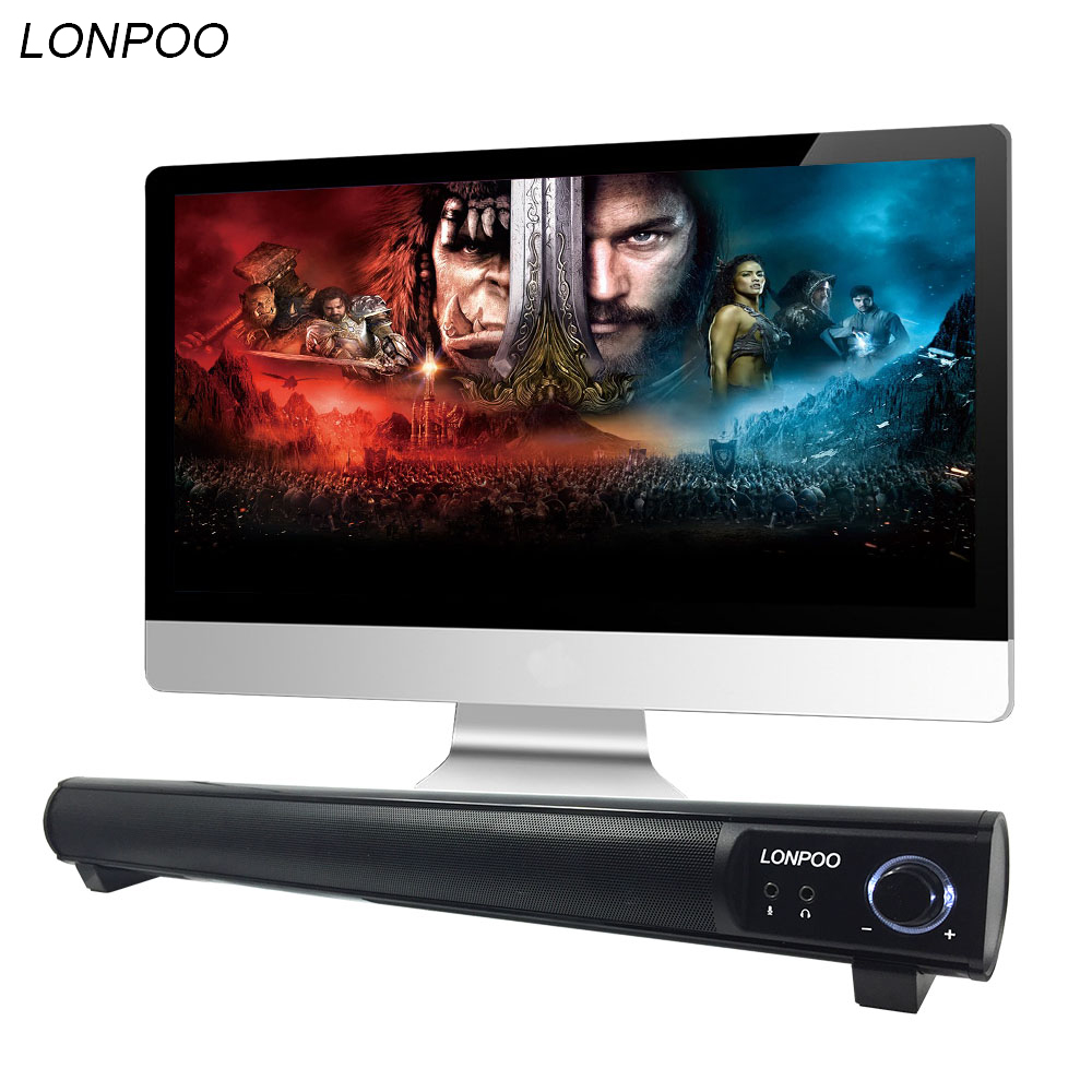 LONPOO MINI USB Soundbar Speaker Portable Audio home theater Sound Bar Speaker untuk telepon pc