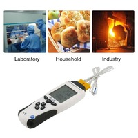 FLUS ET 959 Digital Dual K type J type Thermocouple Thermometer Contact Temperature Meter LCD Handheld Tester Pyrometer