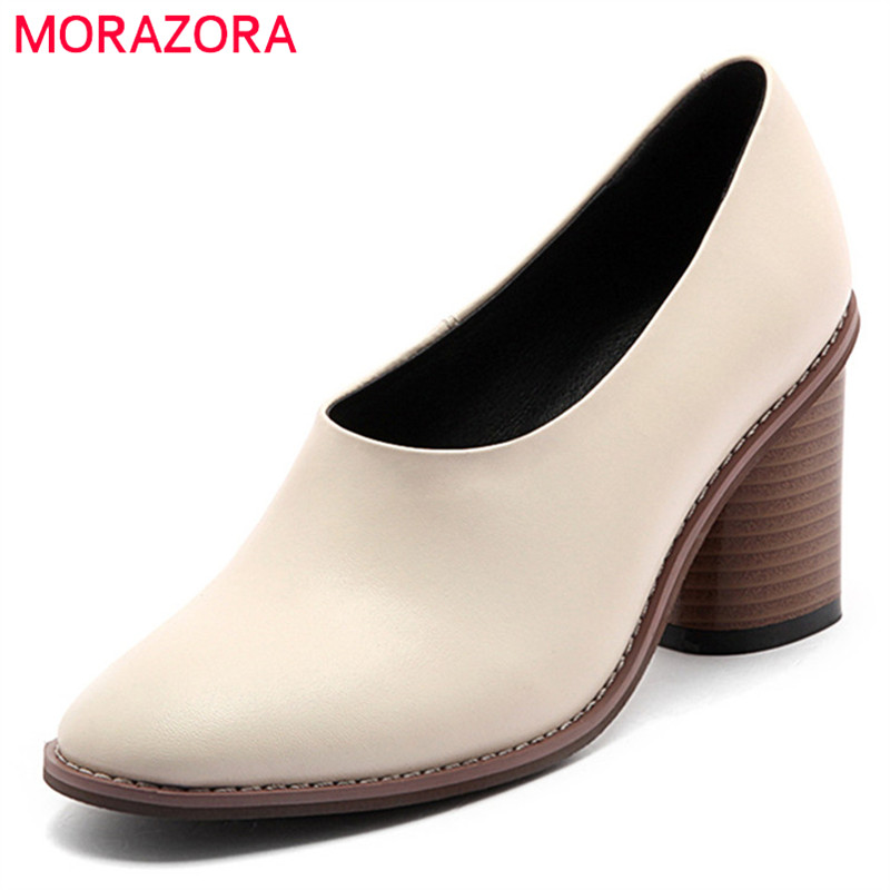 MORAZORA 2018 plus size 34-42 pumps women shoes spring autumn dress shoes genuine leather ladies shoes slip on high heels shoes artmu women high heels shoes two kinds of wear methods shoes female handmade leather shoes women pumps slip on shoes
