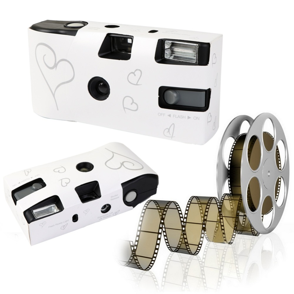 wholesale 5 sets Single Use Disposable Wedding Bridal Camera 36 photos Silver Funny Heart With Flash