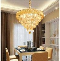 Недавно Современная подвеска Кристалл K9 шампанское Хрустальная люстра светильник подвесной светильник Гостиная Обеденная 110 240 В 100% подлин