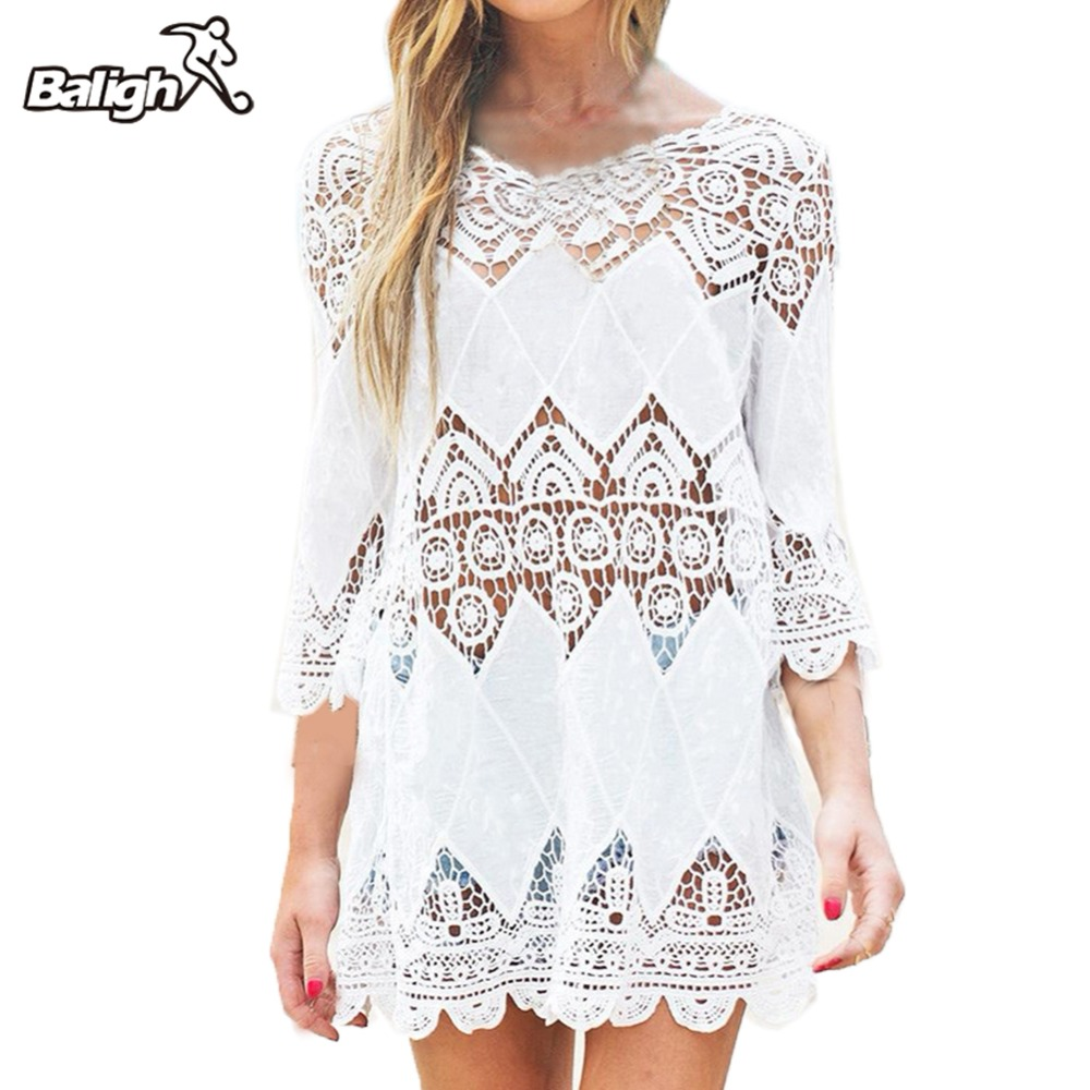 Balight Swimsuit Lace Hollow Crochet Beach Bikini Cover Up 3/4 Sleeve Women Tops Swimwear Beach Dress White Beach Tunic Shirt