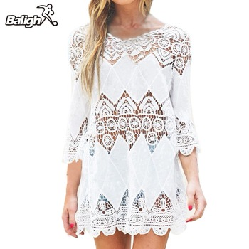 Balight Swimsuit Lace Hollow Crochet Beach Bikini Cover Up 3/4 Sleeve Women Tops Swimwear Beach Dress White Beach Tunic Shirt