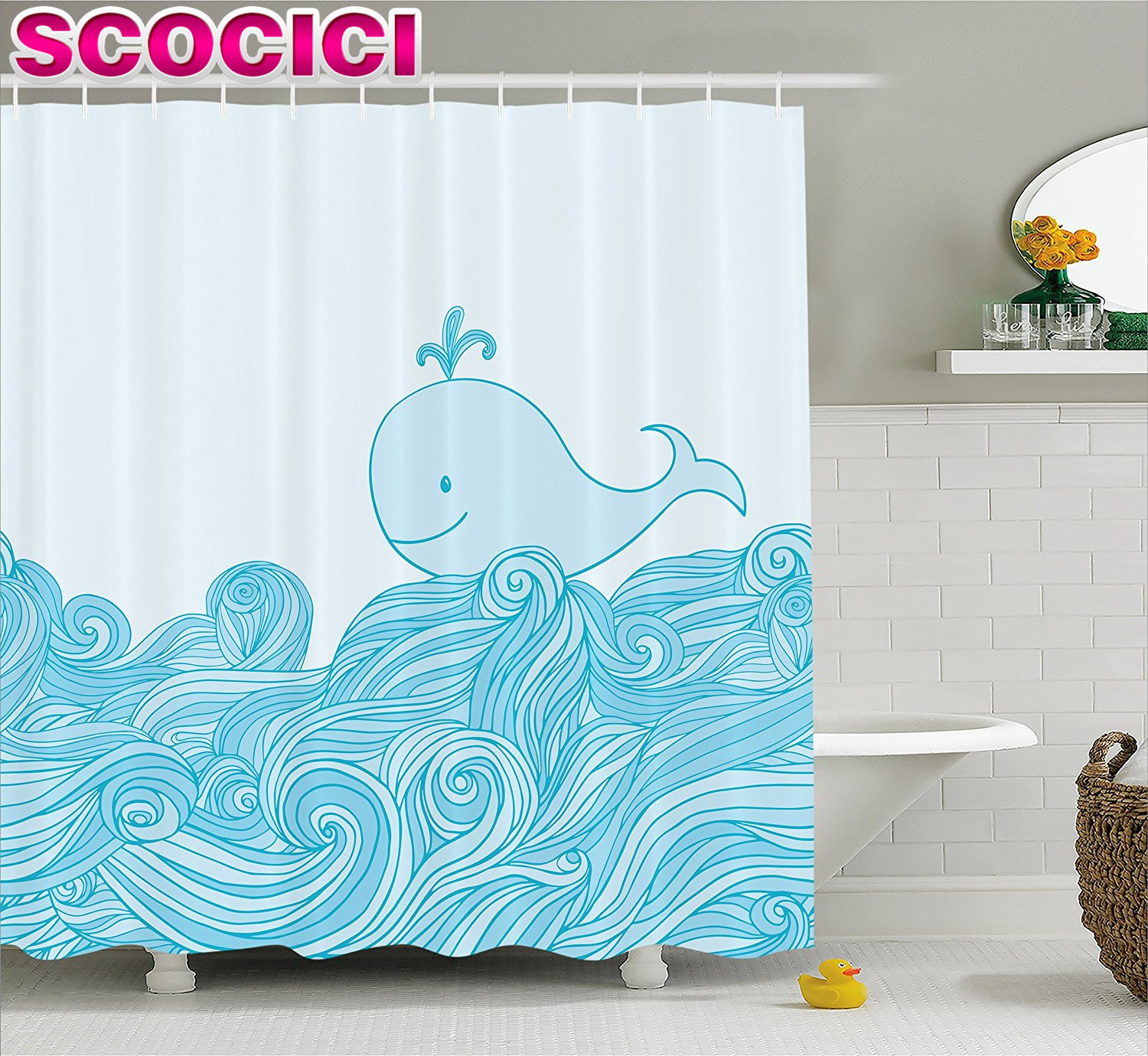 Whale shower curtain - Whale Decor Shower Curtain Blue Cute Baby Smiling Whale On A Wavy Ornamental Spried Ocean Image