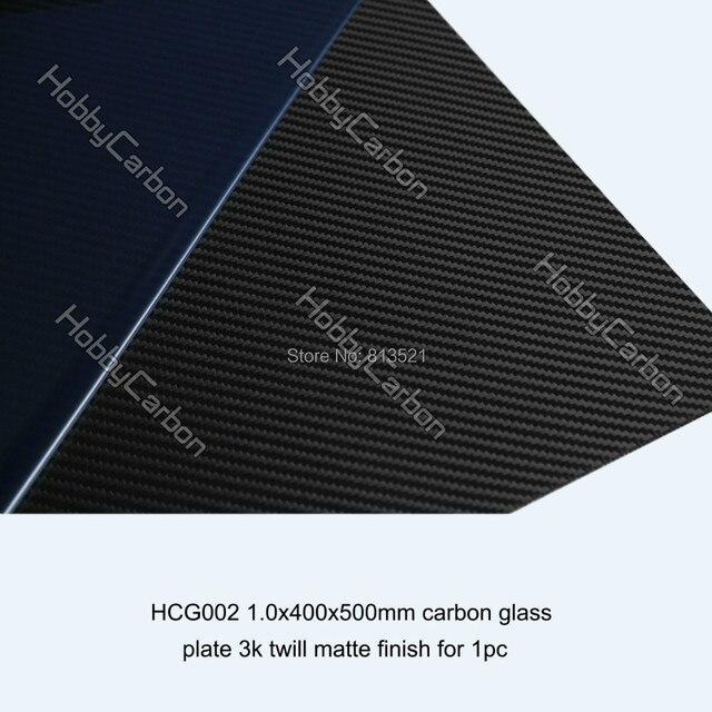 HCG002 Free shipping 1.0mm 400X500mm 3K Twill Matte Carbon Glass Sheet