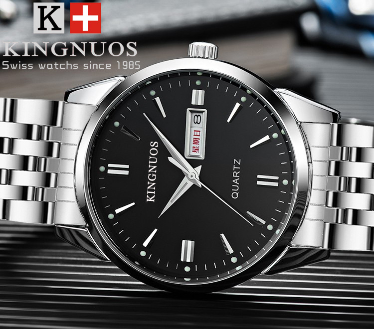 HTB11uIVe2ImBKNjSZFlq6A43FXaI Kingnuos Brand New Design Business Man Watch Steel Waterproof Luminous Hour Date Week Clock Male Hodinky Quartz Men's Watch