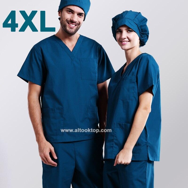 Plus size 4XL women men hospital clinic doctor workwear scrub set medical robe clothes medical clothing nurse uniform tops pants