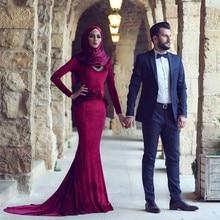 Charming Burgundy Muslim Evening Dress hijab Simple Elegant 2017 Long Sleeves Mermaid Evening Party Dress robe de soiree