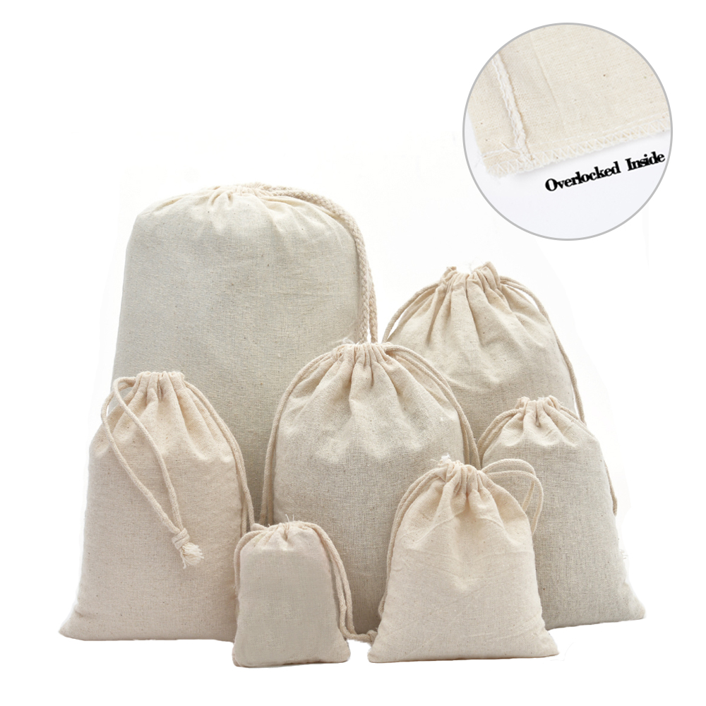 50pcs Double Drawstring Calico Cotton Muslin Gift Bags For Herb Tea Wedding Party Favor Pouch Jewelry Packaging Bag Wholesale