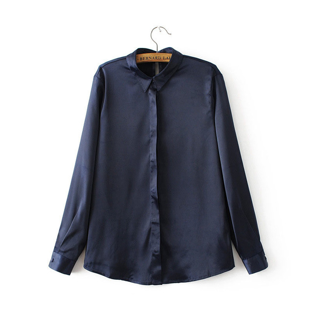 2018 Spring Summer Women Tops & Blouse Super-Soft Loose Shirt Female Turn Down Collar Long Sleeve Satin Blusa Feminina