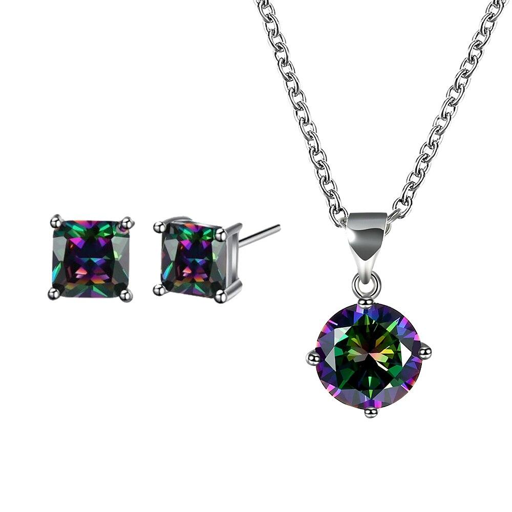 Ensemble de bijoux de conception Simple muti-couleur pour les femmes Vintage collier de forme ronde de luxe AAA cubique zircone carré boucles d'oreilles