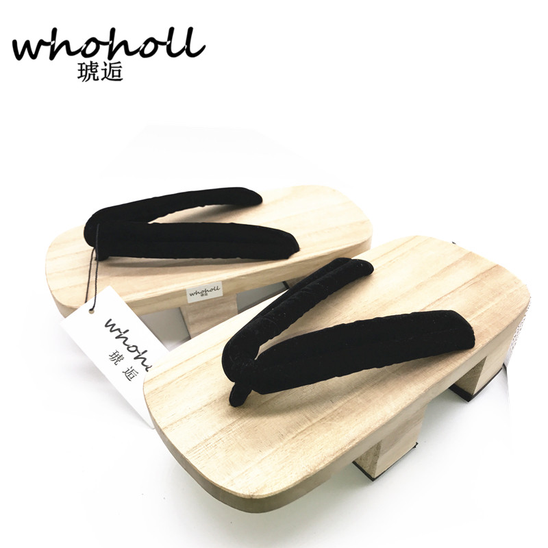 WHOHOLL One Piece Sanji kimono Cosplay Costume man geta slippers Japanese Wooden clogs Flip-flops Man Sandals