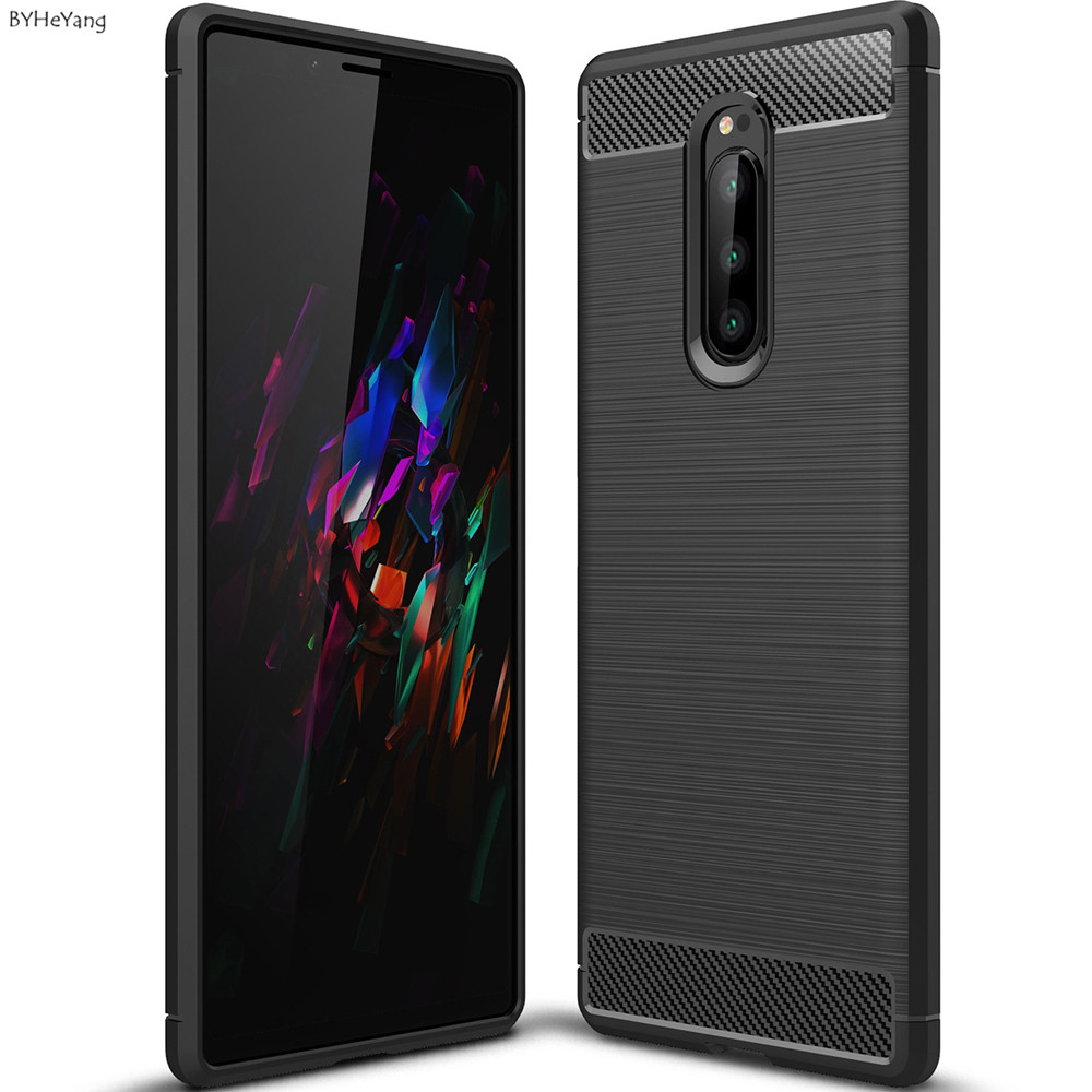 For Phone <font><b>Case</b></font> Sony <font><b>Xperia</b></font> <font><b>1</b></font> Carbon Fiber Soft TPU <font><b>Case</b></font> For Sony <font><b>Xperia</b></font> <font><b>1</b></font> Back Cover coque shell on xperia1 Bumper Matte capa image