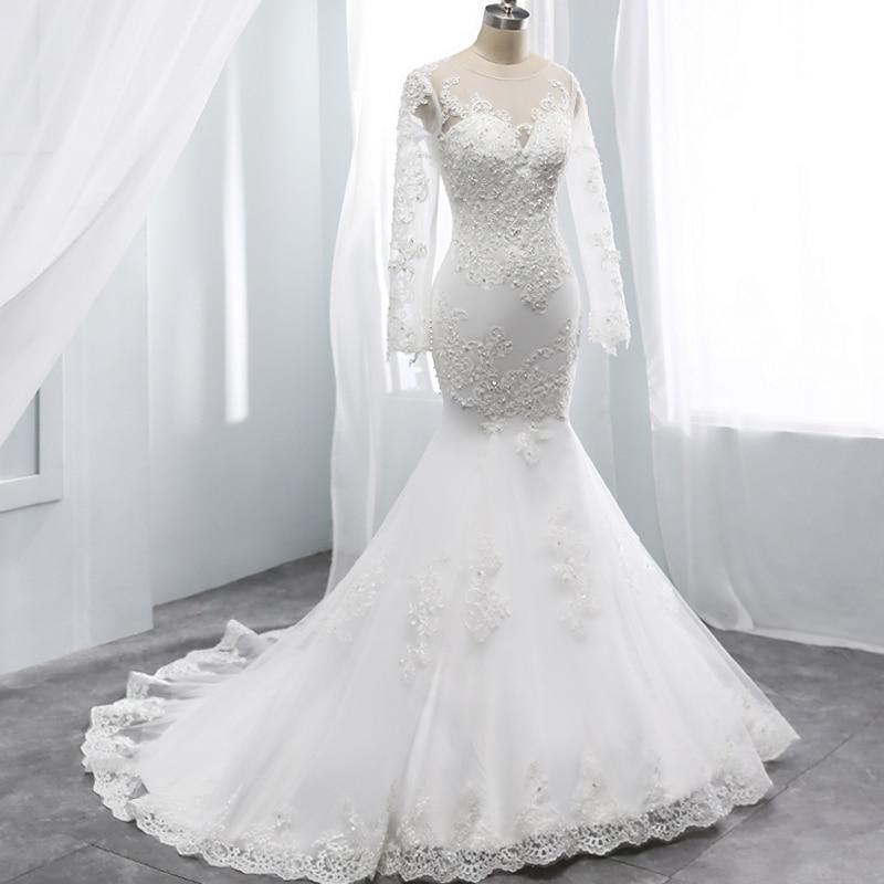 2019 Mermaid Wedding Dress Long Sleeves Backless Wedding Grown Crystal Peals Mariage Dress Custom Made O-neck Dress For Wedding