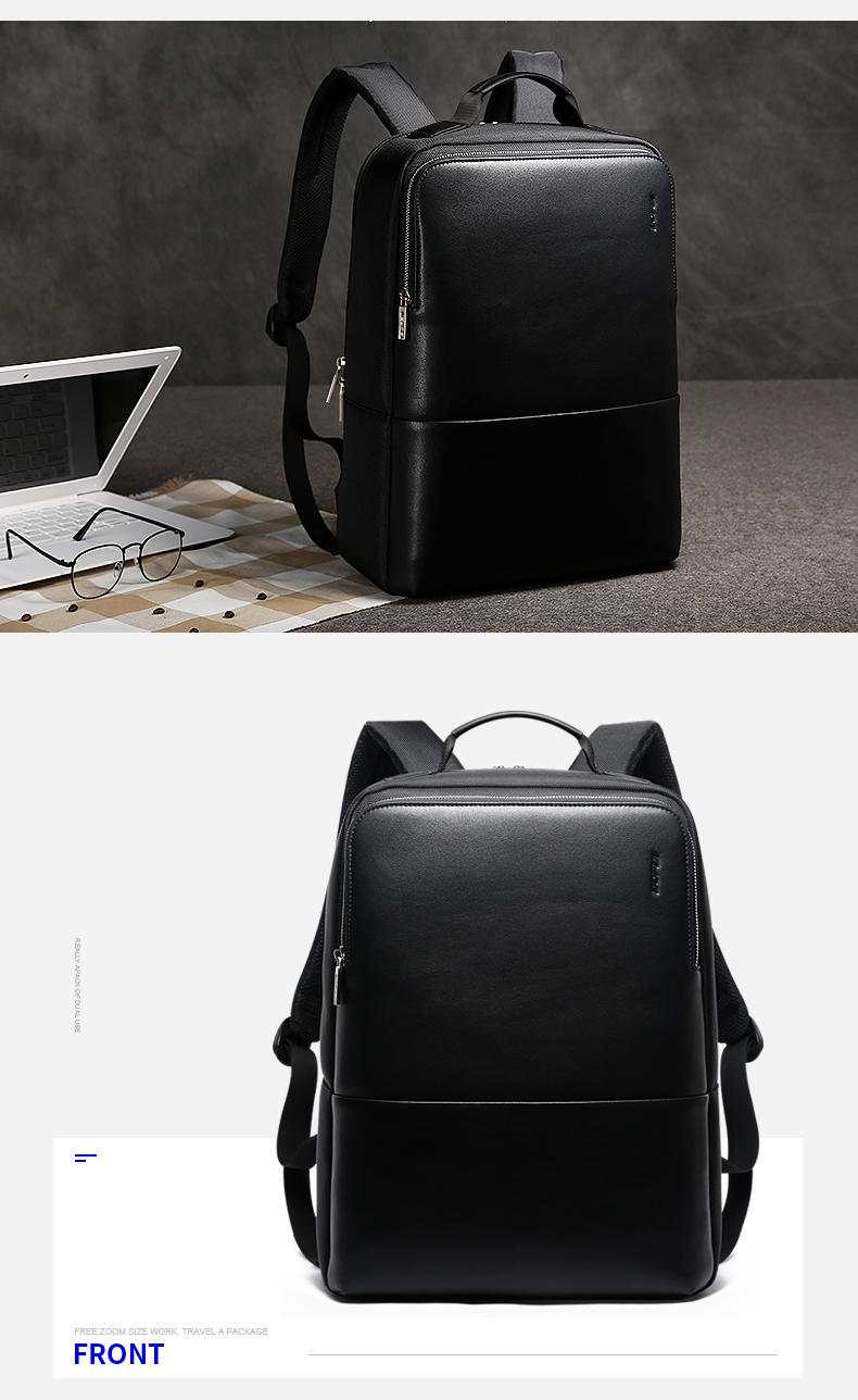 18 BOPAI Brand waterproof 15 inch laptop backpack men backpacks for teenager girls black leather male school backpack bag men 8