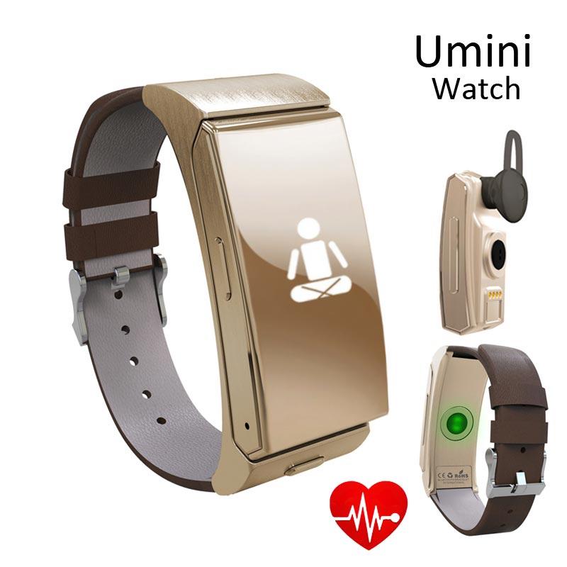 Umini font b Smart b font Watch Bluetooth Earphone Montre Connecter Heart Rate Pedometer Wristband Bracelet