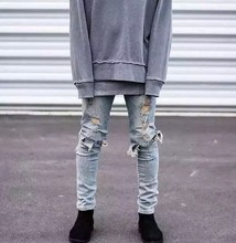 kanye west represent mens european clothing slp men light blue/black designer rock star destroyed ripped skinny distressed jeans
