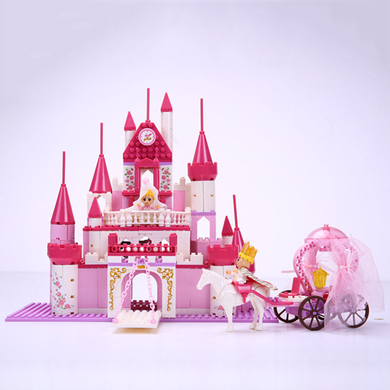 2017 kids wisdom princess and prince wedding series with carriage pink castle girls building blocks best gifts for kids 20502 in blocks from toys hobbies