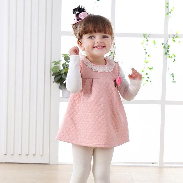 Niñas Nuevo Otoño Chicas Coreanas Qunhua Hilo Falda de Encaje de Algodón Niños Ropa infantil Promoción Fabricación V-0028